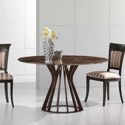 Tavolinë ngrënieje e bërë nga mermeri të errët emperador, dizajn modern, Cesare
