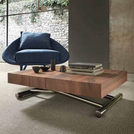 Tavolinë Kafeje Transformuese Moderne në Dru dhe Metal, Prodhuar në Itali - Spirit