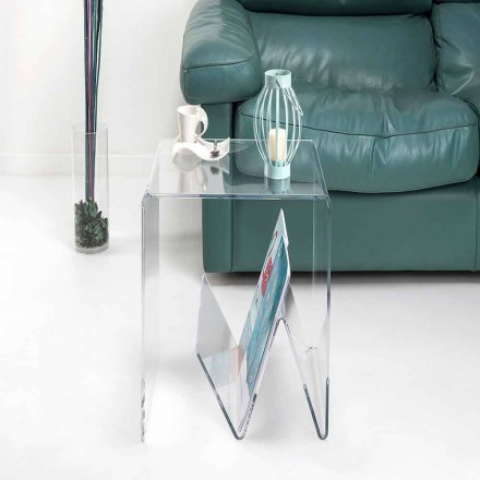 Tavolinë / raft i vogël për revista, dizajn modern, në pleksiglas, Cavour