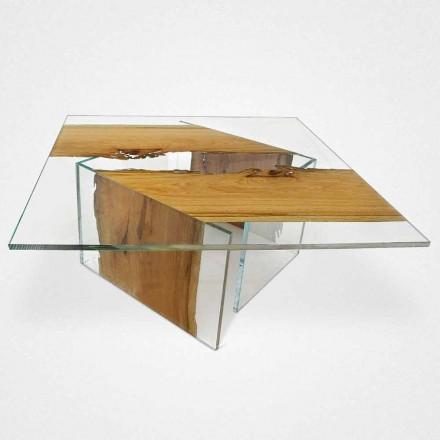 Tavolinë kafeje katrore në dru briccola veneciane dhe xhami Laguna