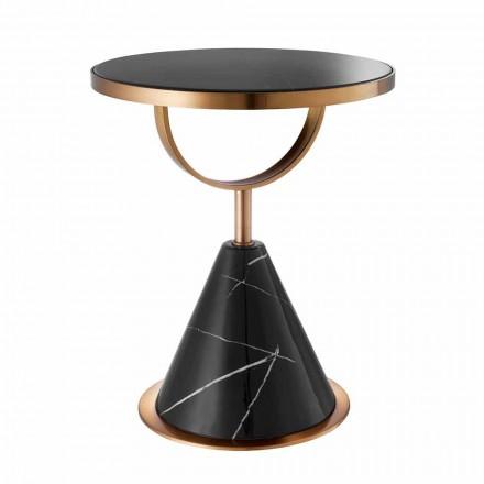 Tavolinë kafeje e rrumbullakët në çelik me përfundim bakri dhe gur modern - Aprilia