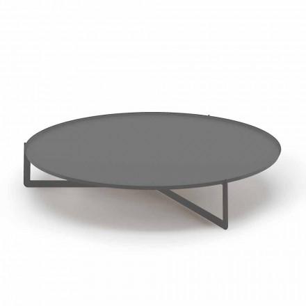 Tavolinë kafeje e rrumbullakët në natyrë në metal me cilësi të lartë prodhuar në Itali - Stephane