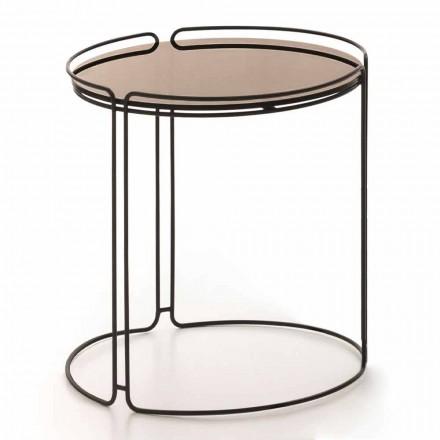 Tavolinë e rrumbullakët kafeje metalike me xham të prodhuar në Itali - George