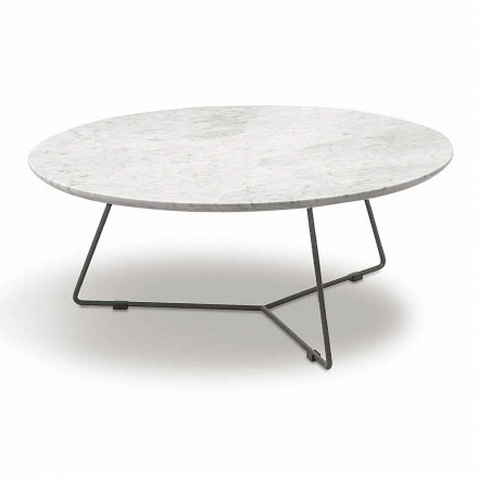 Tavolinë kafeje me majë të rrumbullakët mermeri dhe bazë metalike prodhuar në Itali - Xhin