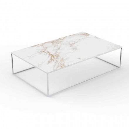 Tavolinë kafeje në natyrë në natyrë në krye me efekt alumini dhe mermeri - Suave nga Vondom