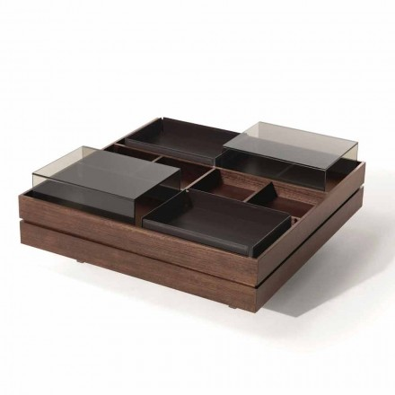 Tavolinë kafeje në dru me detaje në xham dhe lëkurë prodhuar në Itali - Ermano