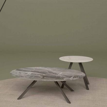 Tavolinë sallë pritjeje në Orobico ose mermer Calacatta dhe Metal Made në Itali - Sirena