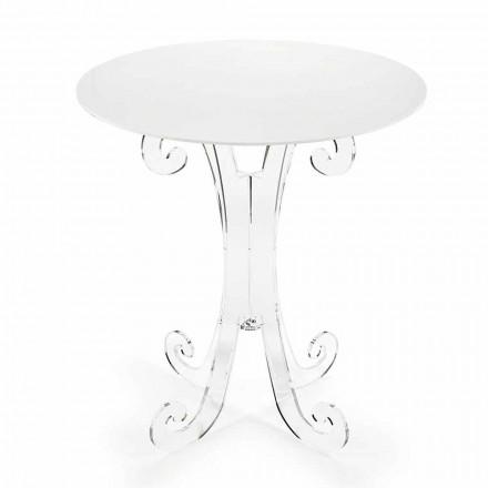 Tavolinë kafeje të rrumbullakët në Plexiglas transparente dhe të bardhë ose me dru - Stilio