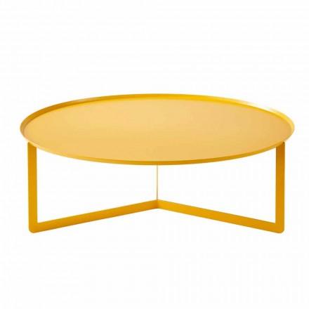 Tavolinë kafeje e jashtme moderne e rrumbullakët në metal prodhuar në Itali - Stephane