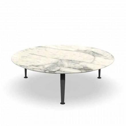 Tavolina e rrumbullakët e kafes së kopshtit në Calacatta Stoneware dhe Alumini - Cruise nga Alu Talenti