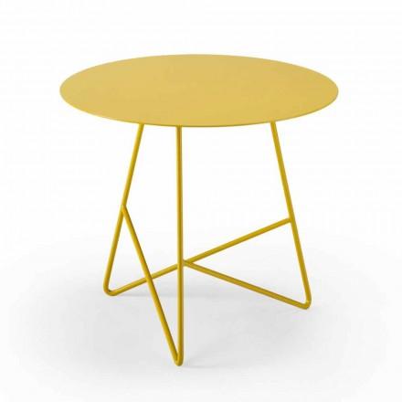 Tavolina e rrumbullakët për kafe në kopsht në metal me ngjyra të ndryshme dhe 3 madhësi - Magali