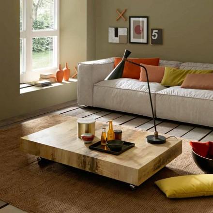 Transformimi i tryezës së kafesë në dru dhe metal të zi prodhuar në Itali - Niverio