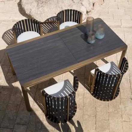 Tavolinë e Zgjatshme 340 cm Darka në natyrë në Alumini dhe Qelqi ose Laminam - Julie