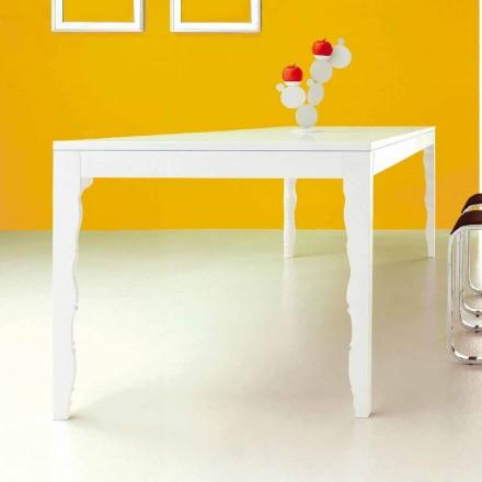 Tavolinë e Zgjatshme në Dru të Llakuar të Bardhë në 2,5 m me Këmbët e Kthyera - Koncepti