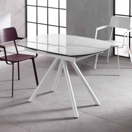 Tavolinë e shtrirë me plan qeramik dhe këmbë metalike Lozzolo