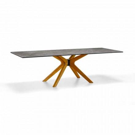 Tavolinë e Zgjatshme Deri në 260 cm në prodhim gresi dhe druri, luksoze prodhuar në Itali - Malita