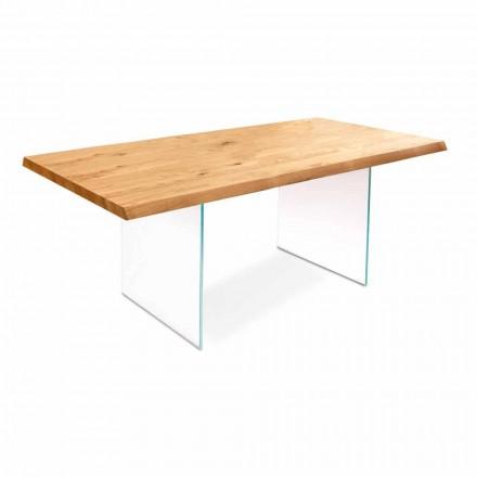 Tavolinë e zgjatur në rimeso lisi me këmbë qelqi Nico