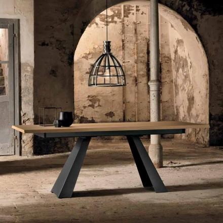 Tavolinë moderne e zgjatshme anësore në dru lisi të bërë në Itali, Zerba
