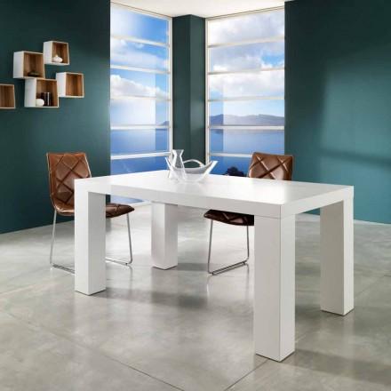 Tavolinë ngrënieje e zgjatshme e dizajnit Demy, fund i bardhë i llakuar