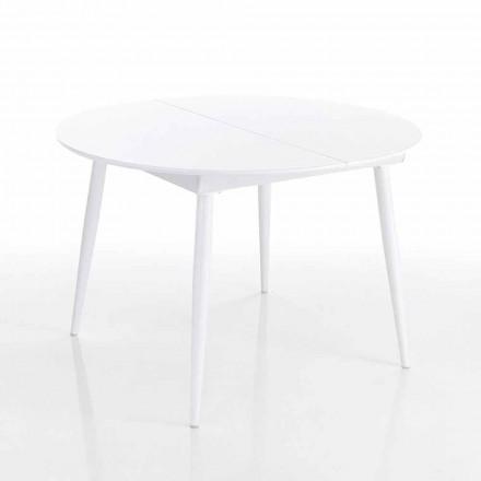 Tavolinë ngrënieje e rrumbullakët e zgjatur në MDF të bardhë - Ismaele