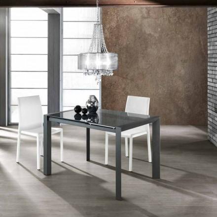 Tavolinë ngrënieje moderne e zgjatur e bërë nga qelqi i zbutur Zeno