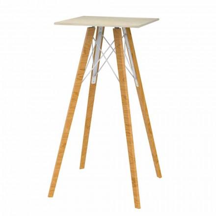 Tavolinë me shirita të lartë katrorë në efekt druri dhe mermeri 4 copë - Faz Wood nga Vondom