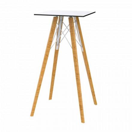 Dizajn Sheshi Tavolinë e Lartë në Dru dhe Hpl, 4 Copë - Faz Wood nga Vondom