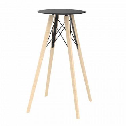 Dizajn i rrumbullakët Tavolinë e Lartë në Dru dhe Hpl, 4 Copë - Faz Wood nga Vondom