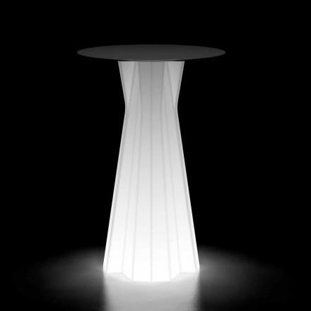 Tavolinë e Lartë e Jashtme me Bazë Ndriçuese dhe Top Hpl Prodhuar në Itali - Tinuccia