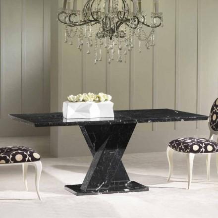 Tavolinë ngrënieje prej mermeri të zi, model klasik, Bajron 200x100 cm