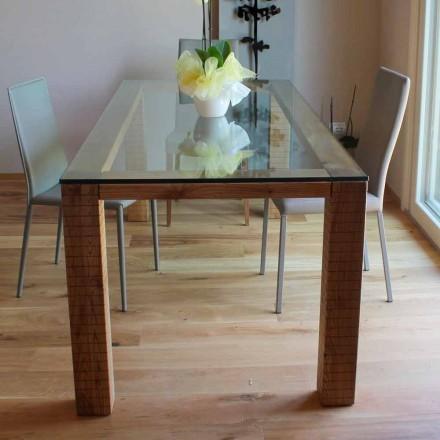 Tabela me Crystal Top dhe Modero Ash Wood të prodhuar në Itali - Asella
