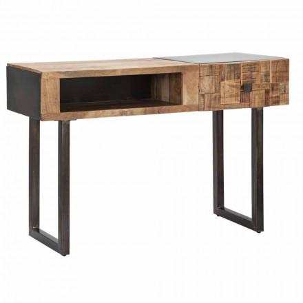 Tavolinë konsolësh në hekur dhe dru akacie me sirtarin e dizajnit - Dena