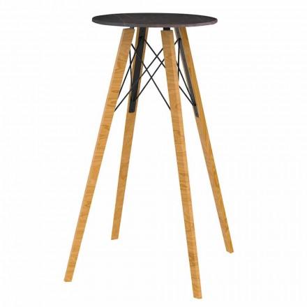 Tavolinë e rrumbullakët me shirita të lartë në efekt druri dhe mermeri 4 copë - Faz Wood nga Vondom
