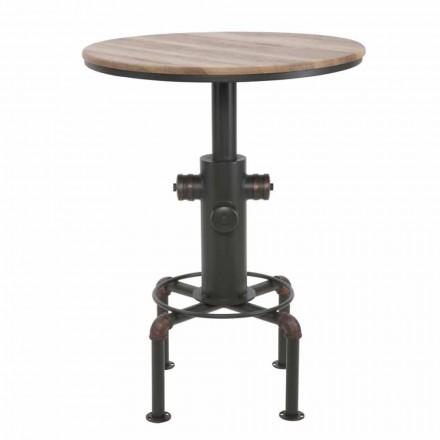 Tavolina e rrumbullakët e shiritave të stilit industrial në projektin e hekurit dhe drurit - Niv