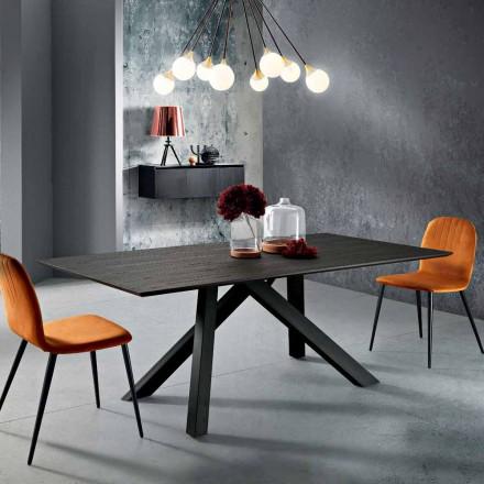 Tavolinë ngrënieje prej druri MDF dhe metali të bërë në Itali, Wilmer