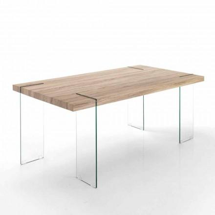 Tavolinë moderne e kuzhinës me bazën e lartë Mdf dhe bazën e qelqit - Joey