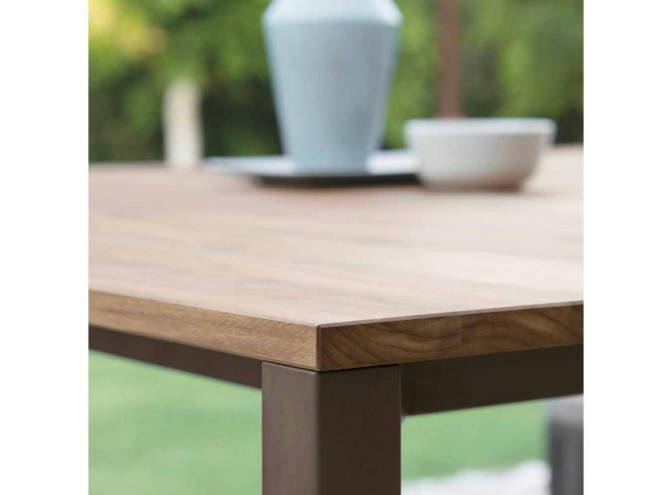 Casilda Talenti tryezë moderne në natyrë në dru dhe çelik inox 200x100