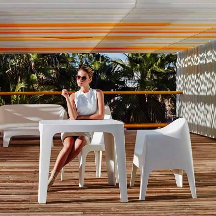 Tavolinë katrore në natyrë Solid by Vondom në polipropilen, dizajn modern, 4 copë