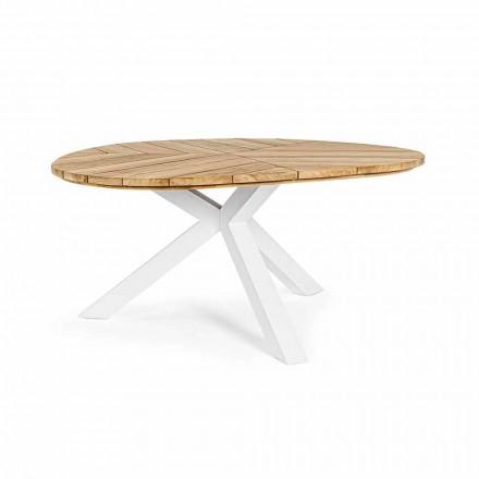 Tryezë e rrumbullakët në natyrë në dru tik me bazë alumini, lëvizje shtëpiake - Selenia