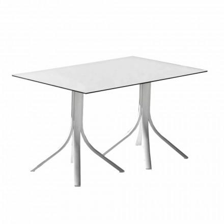 Tavolinë luksoze kopshti në alumin dhe hpl të bardhë ose armë - Filomena