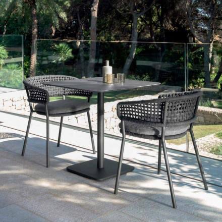 Tavolina moderne e kopshtit Moon Alu nga Talenti, 80x80 me qeramikë
