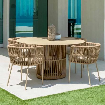 Tavolina e rrumbullakët e kopshtit prej alumini Cliff Talenti, dizajn nga Palomba