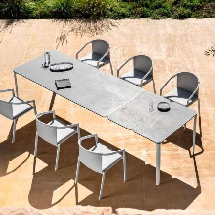 Tavolinë për darkë të jashtme të zgjatshme 318 cm në alumin dhe prodhim gresi - Filomena