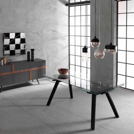 Tavolinë e shtrirë deri në 260 cm, plan xhami dhe dru i ashpërës Empoli