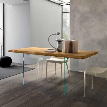 Tabela e zgjatur e darkës Deri në 280 cm në dru dhe qelq prodhuar në Itali - Fokusimi
