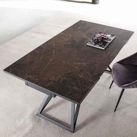 Tabela e zgjatur e darkës Deri në 240 cm në xham dhe çelik qeramik - Bortolo