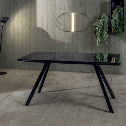 Tavolinë për darkë të zgjatur deri në 240 cm në xham të zezë të temperuar - Fener