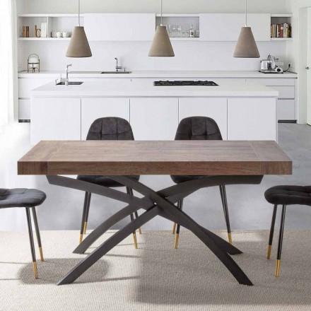 Tavolinë për darkë të zgjatur Deri në 260 cm në dru dhe metal melamine - Lukas