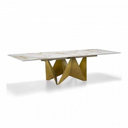 Tavolinë luksoze e zgjerueshme Deri në 294 cm në prodhim gresi prej mermeri të prodhuar në Itali - makro