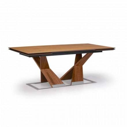 Tavolinë ngrënieje e zgjerueshme Deri në 294 cm në dru të bërë në Itali - Monique